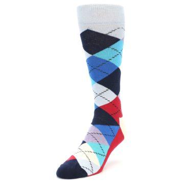 Image of Blues White Red Argyle Men's Dress Socks (side-2-front-07)