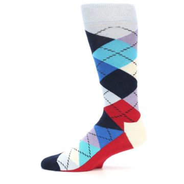 Image of Blues White Red Argyle Men's Dress Socks (side-2-11)
