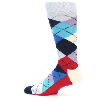Image of Blues White Red Argyle Men's Dress Socks (side-2-12)