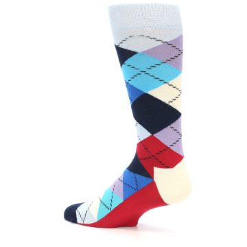 Image of Blues White Red Argyle Men's Dress Socks (side-2-13)