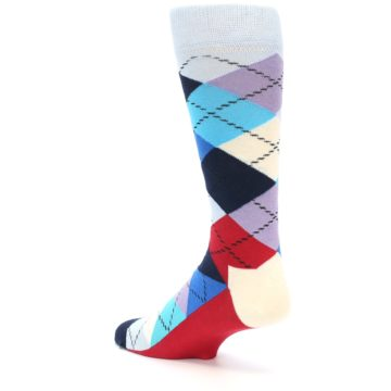 Image of Blues White Red Argyle Men's Dress Socks (side-2-back-14)