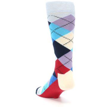 Image of Blues White Red Argyle Men's Dress Socks (side-2-back-15)