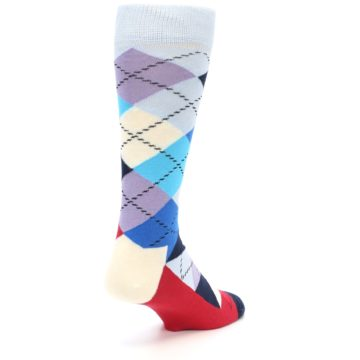 Image of Blues White Red Argyle Men's Dress Socks (side-1-back-20)