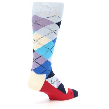 Image of Blues White Red Argyle Men's Dress Socks (side-1-back-21)