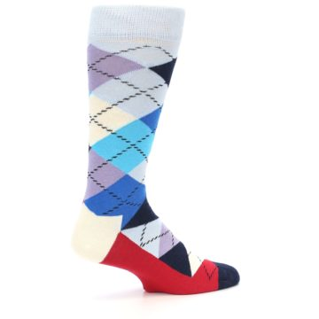Image of Blues White Red Argyle Men's Dress Socks (side-1-back-22)