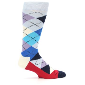 Image of Blues White Red Argyle Men's Dress Socks (side-1-23)