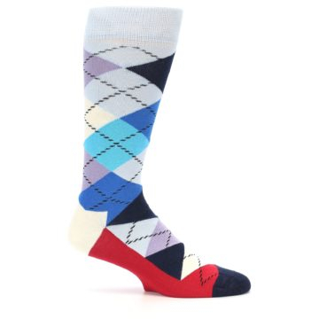 Image of Blues White Red Argyle Men's Dress Socks (side-1-24)