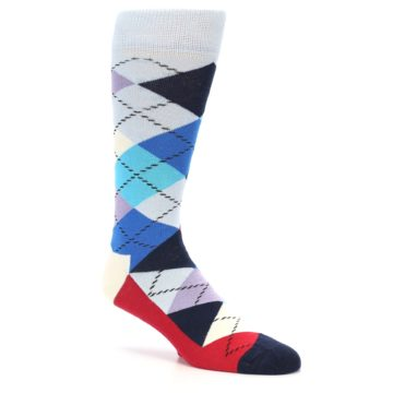 Image of Blues White Red Argyle Men's Dress Socks (side-1-26)
