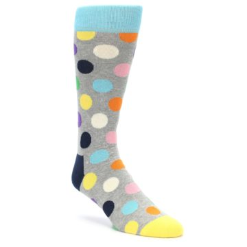 Image of Grey Multi-Color Polka Dot Men's Dress Socks (side-1-front-01)