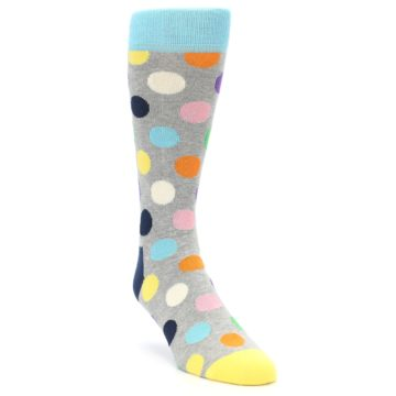 Image of Grey Multi-Color Polka Dot Men's Dress Socks (side-1-front-02)