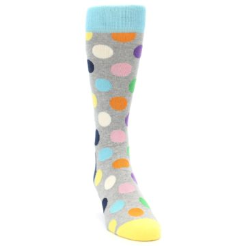 Image of Grey Multi-Color Polka Dot Men's Dress Socks (side-1-front-03)