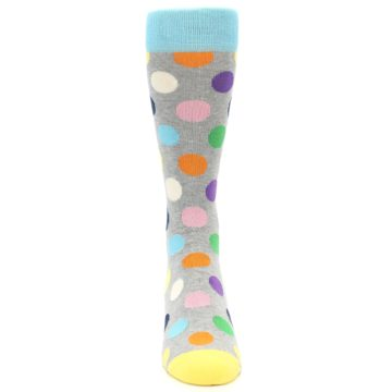 Image of Grey Multi-Color Polka Dot Men's Dress Socks (front-04)