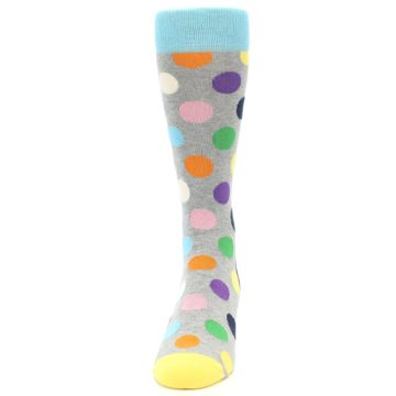 Image of Grey Multi-Color Polka Dot Men's Dress Socks (front-05)