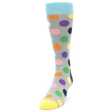 Image of Grey Multi-Color Polka Dot Men's Dress Socks (side-2-front-06)