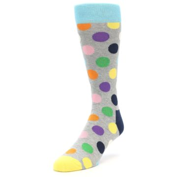 Image of Grey Multi-Color Polka Dot Men's Dress Socks (side-2-front-07)