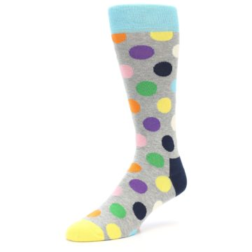 Image of Grey Multi-Color Polka Dot Men's Dress Socks (side-2-front-08)