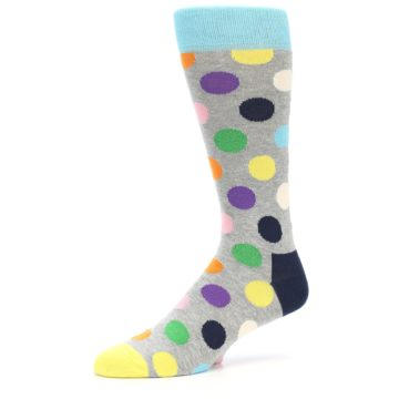 Image of Grey Multi-Color Polka Dot Men's Dress Socks (side-2-09)