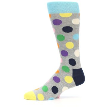 Image of Grey Multi-Color Polka Dot Men's Dress Socks (side-2-10)