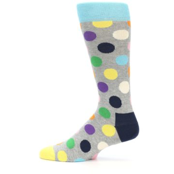 Image of Grey Multi-Color Polka Dot Men's Dress Socks (side-2-11)
