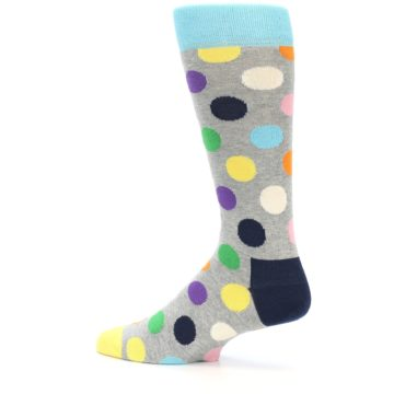Image of Grey Multi-Color Polka Dot Men's Dress Socks (side-2-12)