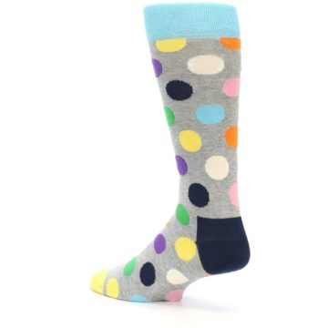 Image of Grey Multi-Color Polka Dot Men's Dress Socks (side-2-13)