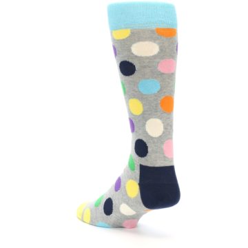 Image of Grey Multi-Color Polka Dot Men's Dress Socks (side-2-back-14)