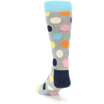 Image of Grey Multi-Color Polka Dot Men's Dress Socks (side-2-back-15)