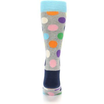 Image of Grey Multi-Color Polka Dot Men's Dress Socks (back-17)