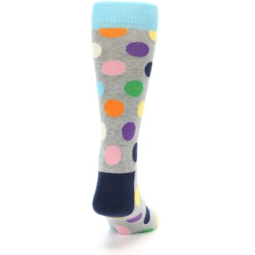 Image of Grey Multi-Color Polka Dot Men's Dress Socks (back-18)