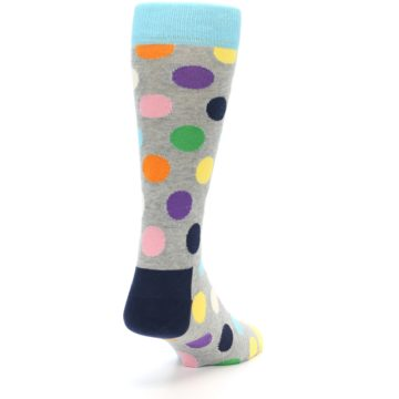 Image of Grey Multi-Color Polka Dot Men's Dress Socks (back-19)