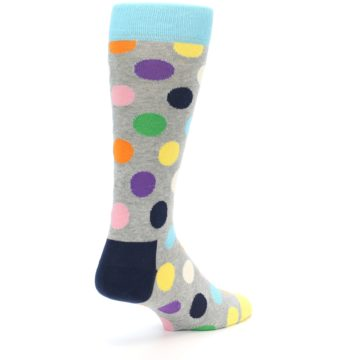 Image of Grey Multi-Color Polka Dot Men's Dress Socks (side-1-back-20)