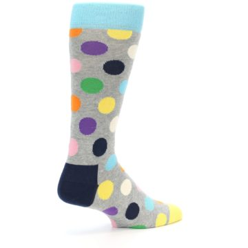 Image of Grey Multi-Color Polka Dot Men's Dress Socks (side-1-back-21)