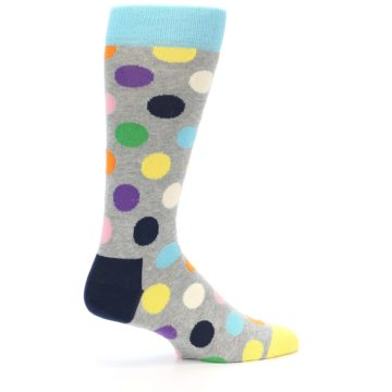 Image of Grey Multi-Color Polka Dot Men's Dress Socks (side-1-back-22)