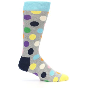 Image of Grey Multi-Color Polka Dot Men's Dress Socks (side-1-23)