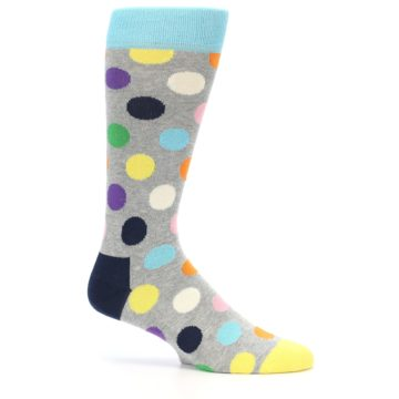 Image of Grey Multi-Color Polka Dot Men's Dress Socks (side-1-24)
