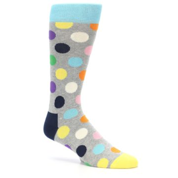 Image of Grey Multi-Color Polka Dot Men's Dress Socks (side-1-25)