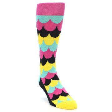 Image of Multi-Color Scalloped Stripes Men's Dress Socks (side-1-front-02)