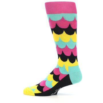 Image of Multi-Color Scalloped Stripes Men's Dress Socks (side-2-11)