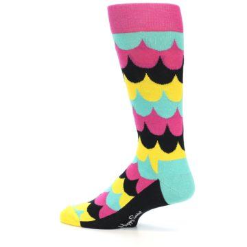 Image of Multi-Color Scalloped Stripes Men's Dress Socks (side-2-12)