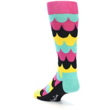 Image of Multi-Color Scalloped Stripes Men's Dress Socks (side-2-back-14)