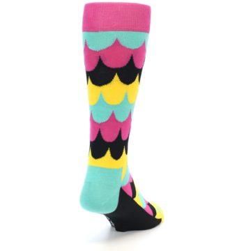 Image of Multi-Color Scalloped Stripes Men's Dress Socks (back-19)