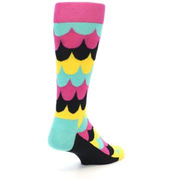 Image of Multi-Color Scalloped Stripes Men's Dress Socks (side-1-back-20)