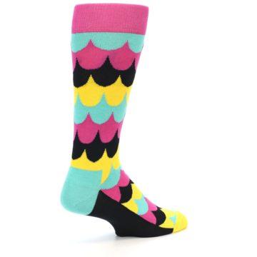 Image of Multi-Color Scalloped Stripes Men's Dress Socks (side-1-back-21)
