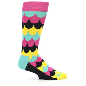 Image of Multi-Color Scalloped Stripes Men's Dress Socks (side-1-23)