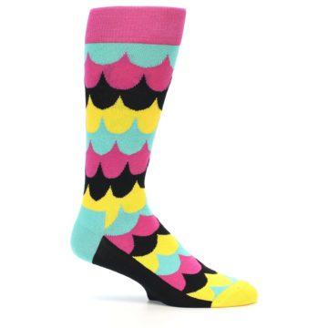 Image of Multi-Color Scalloped Stripes Men's Dress Socks (side-1-24)