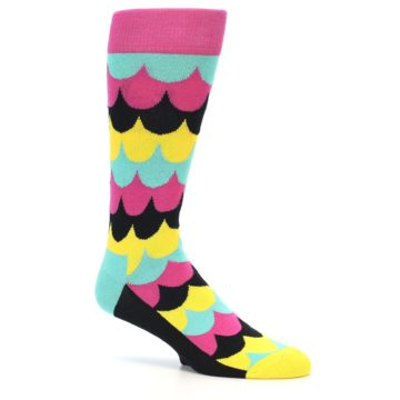 Image of Multi-Color Scalloped Stripes Men's Dress Socks (side-1-25)