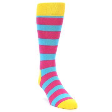 Image of Blue Pink Stripes Men's Dress Socks (side-1-front-02)
