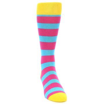 Image of Blue Pink Stripes Men's Dress Socks (side-1-front-03)
