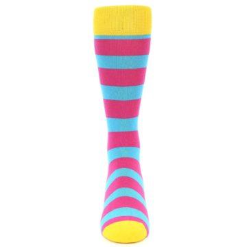 Image of Blue Pink Stripes Men's Dress Socks (front-04)