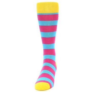 Image of Blue Pink Stripes Men's Dress Socks (front-05)